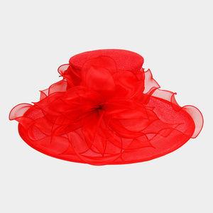 Brim Ruffle Organza Hat W/ Floral Center